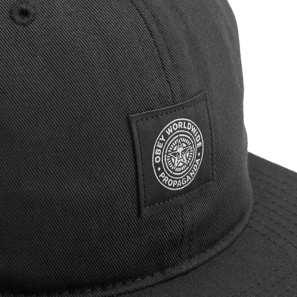 OBEY Clothing Men s Worldwide Seal 6 Panel Hat - Black - Free UK ... 1d7435c67f5e