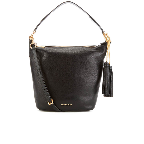 MICHAEL MICHAEL KORS Elana Large Tassel Shoulder Bag - Black: Image 1