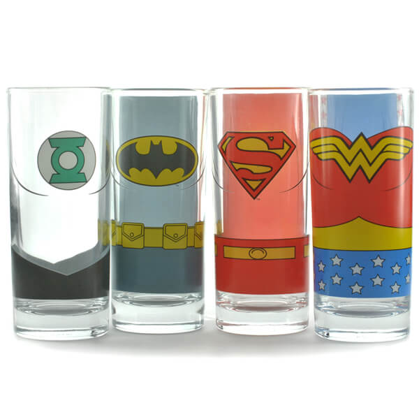Justice League of America Glasses in Gift Box (Set of 4)