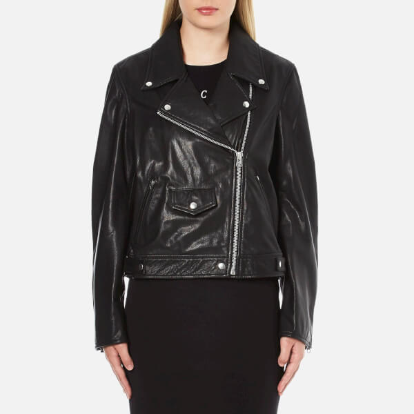 McQ Alexander McQueen Women s Casual Leather Biker Jacket - Black - Free UK  Delivery over £50 dfede574834