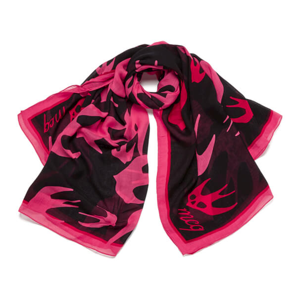 swallow print scarf - Pink & Purple Alexander McQueen rjOkZu0345