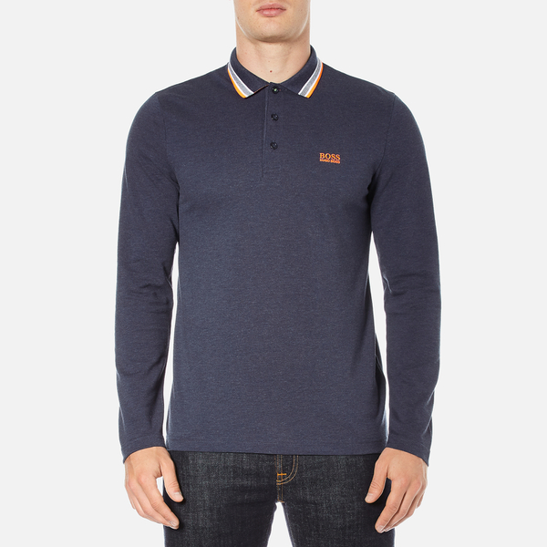BOSS Green Men's Plisy Long Sleeve Polo Shirt - Blue