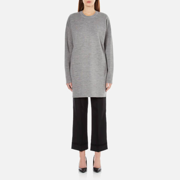 Alexander Wang Women's Crew Neck Long Sleeve Dress with Seamless Pocket - Grey Melange
