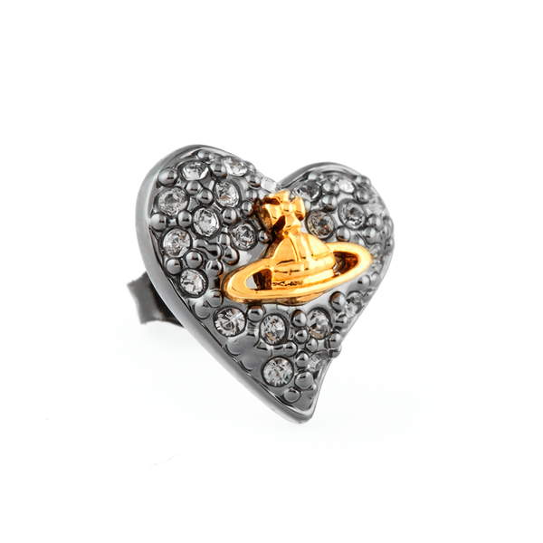 359e1aedf Vivienne Westwood Jewellery Women's Tiny Diamante Heart Stud Earrings -  Black: Image 2