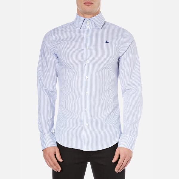 Vivienne Westwood MAN Men's Stretch Stripe Poplin Long Sleeve Shirt - Blue Stripe