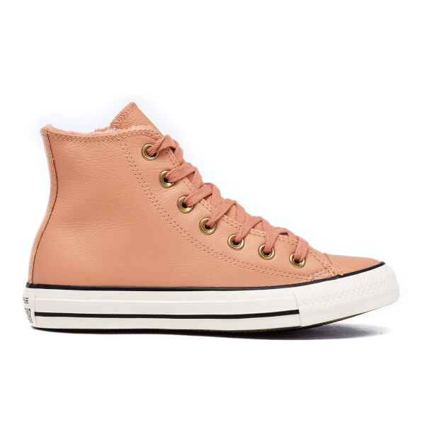 2b1463e3f6 Converse Women's Chuck Taylor All Star Leather Fur Hi-Top Trainers - Pink  Blush/
