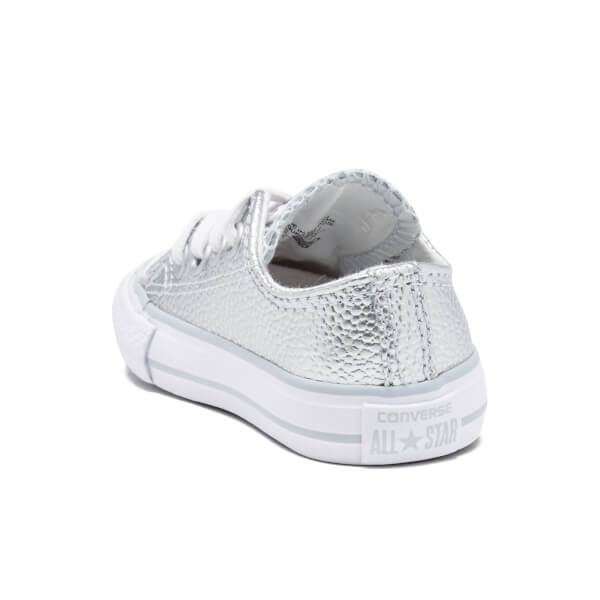 3b4c31e20079 Converse Toddlers  Chuck Taylor All Star Metallic Leather OX Trainers - Pure  Silver White
