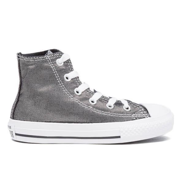 62209116dc4d Converse Kids  Chuck Taylor All Star Shimmer Hi-Top Trainers - Silver Black