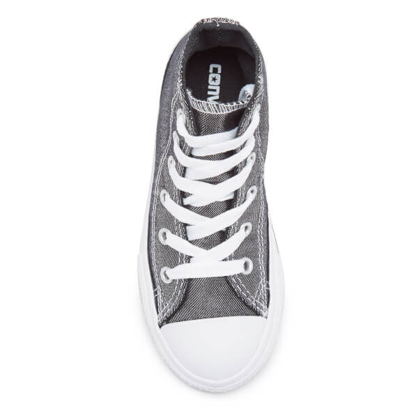 Converse Kids  Chuck Taylor All Star Shimmer Hi-Top Trainers - Silver Black 4c033e279