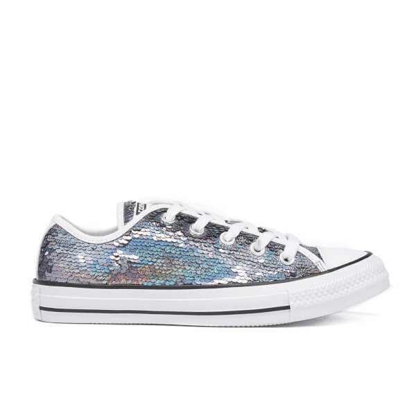 74768b0b45a9 Converse Women s Chuck Taylor All Star Holiday Party OX Trainers -  Gunmetal White Black