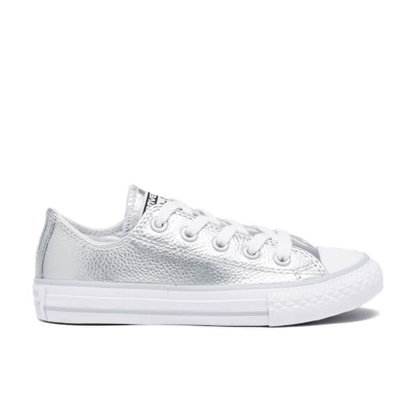 1b1b97133fc8 Converse Kids  Chuck Taylor All Star Metallic Leather OX Trainers - Pure  Silver White