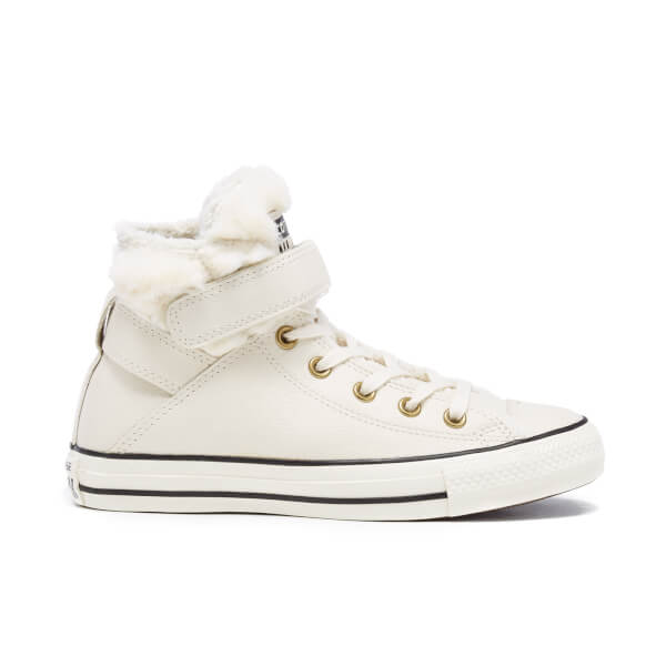 169539a026a6 Converse Women s Chuck Taylor All Star Brea Leather Fur Hi-Top Trainers -  Parchment