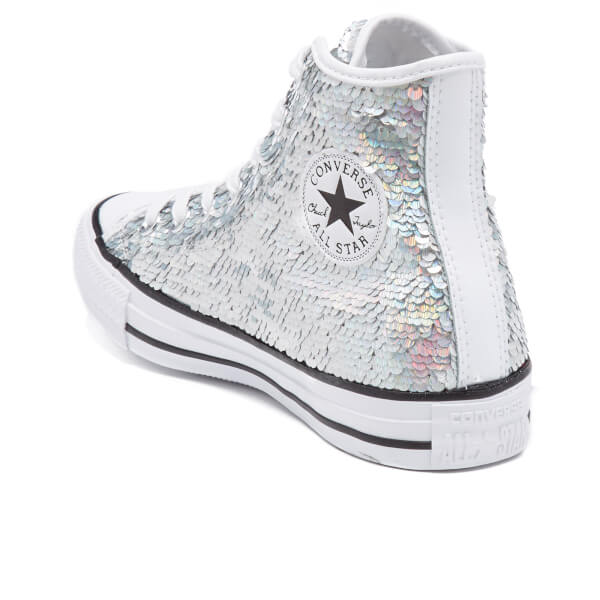 62d5838ac0c6 Converse Women s Chuck Taylor All Star Holiday Party Hi-Top Trainers -  Silver White
