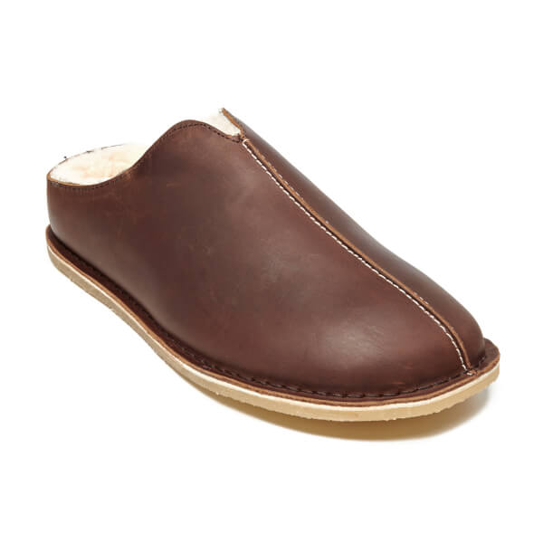 504a49012fad Clarks Men s Kite Stitch Leather Slippers - Brown  Image 2