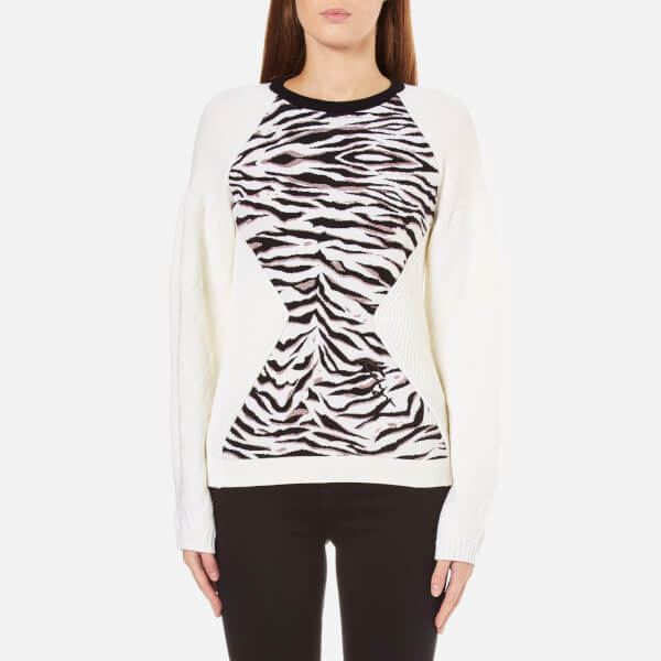 KENZO Women's Tiger Stripes Jacquard Sweatshirt - White