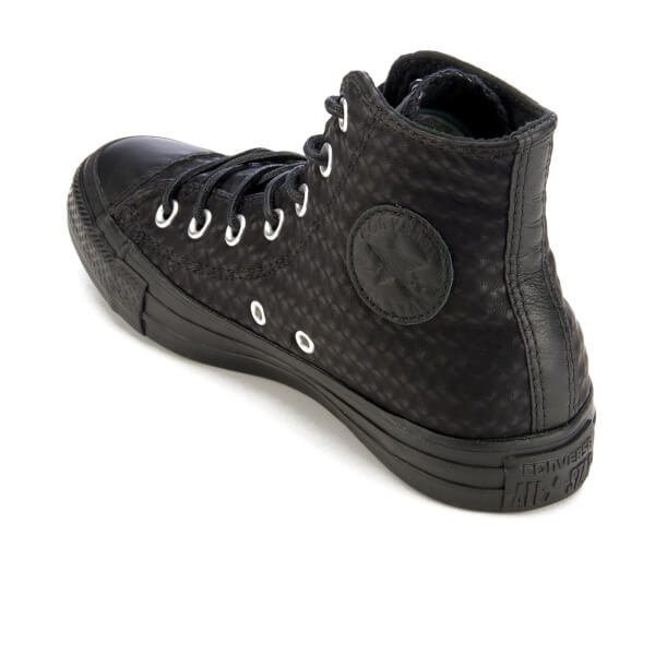 ef1742810bc7 Converse Women s Chuck Taylor All Star Craft Leather Hi-Top Trainers - Black  Monochrome