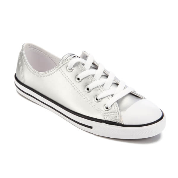 42e58f144a80 Converse Women s Chuck Taylor All Star Dainty Ox Trainers - Silver  Black White
