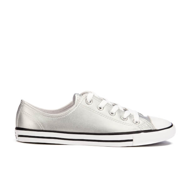 04fb30d3f73 Converse Women s Chuck Taylor All Star Dainty Ox Trainers -  Silver Black White