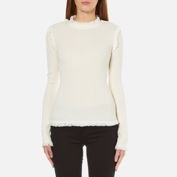 MICHAEL MICHAEL KORS Women's Fine Fringe Crew Neck Sweater - Cream