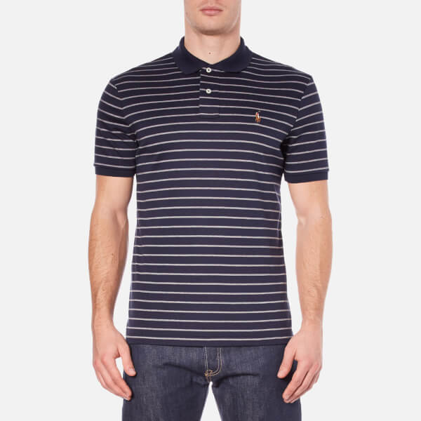 Polo Ralph Lauren Men's Short Sleeve Pima Cotton Stripe Polo Shirt - French Navy