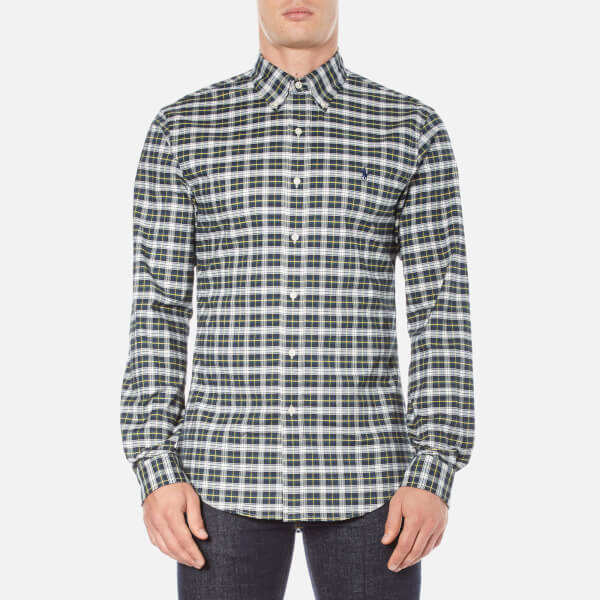 Polo Ralph Lauren Men's Long Sleeve Checked Stretch Oxford Shirt - Green/White