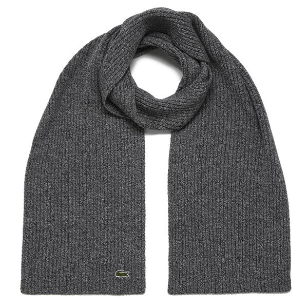 Lacoste Men's Ribbed Scarf - Light Grey Jaspe