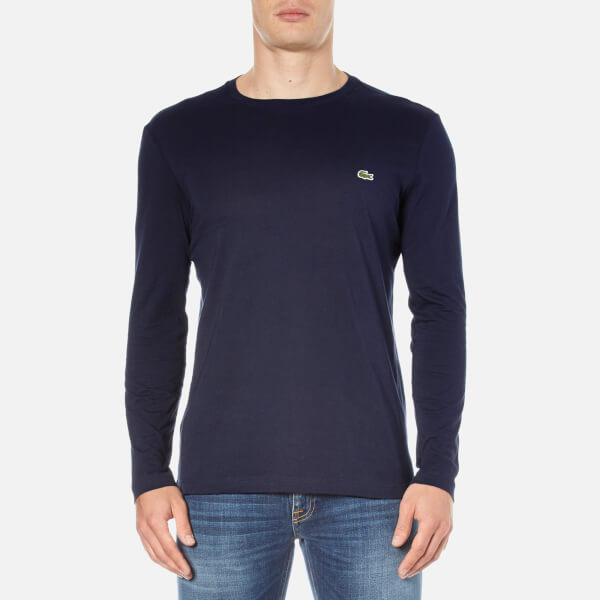 0d99aaf7656fcf Lacoste Men s Long Sleeved Crew Neck T-Shirt - Navy Blue Mens ...