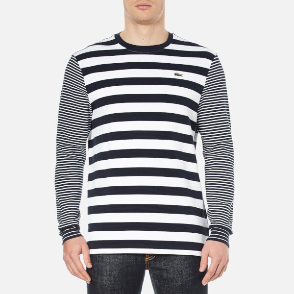 Lacoste L!ve Men's Long Sleeve Stripe T-Shirt - Navy Blue/White