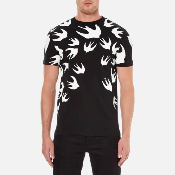 McQ Alexander McQueen Men's Swallow Print Crew T-Shirt - Darkest Black:  Image 1