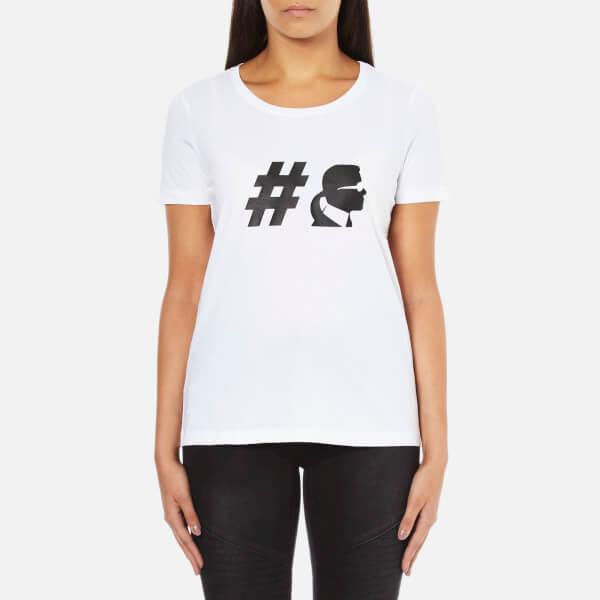 Karl Lagerfeld Womens #TeamKarl Crew Neck T-Shirt – White