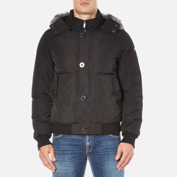 Michael Kors Men's Faux Fur Short Parka - Black - Free UK Delivery ...