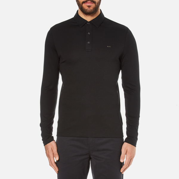 Michael Kors Men's Long Sleeve Sleek MK Polo Top - Black