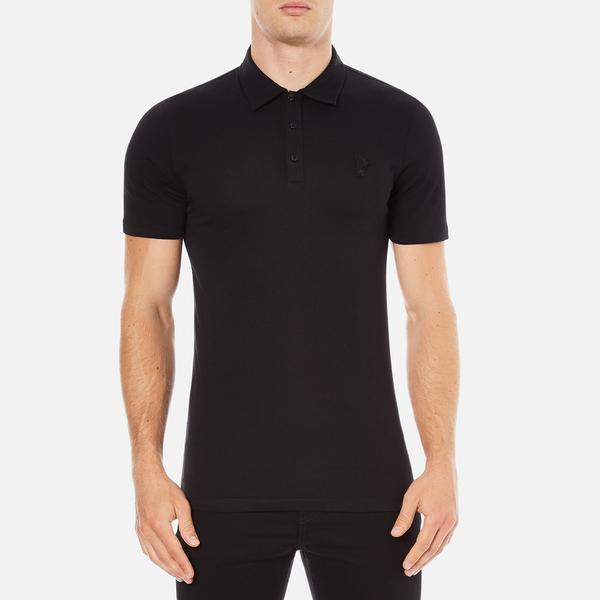 Versace Collection Men's Chest Logo Polo Shirt - Black
