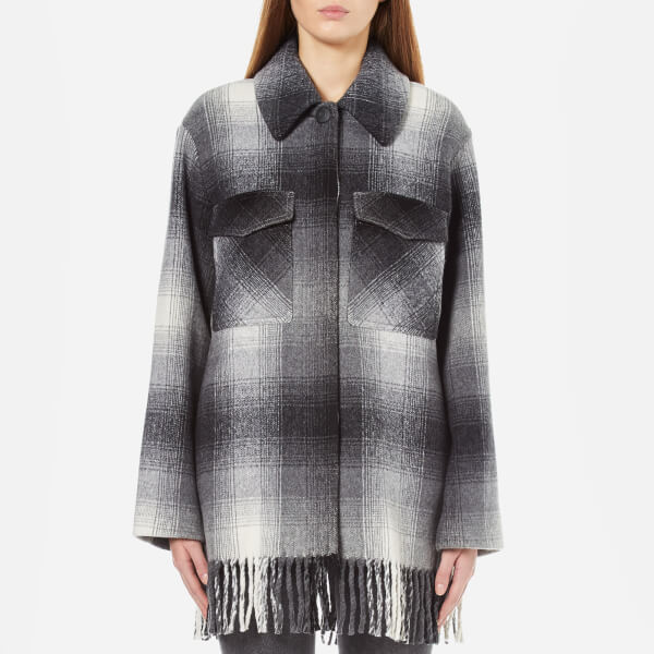 T by Alexander Wang Women's Fringed Blanket Wool Collared Oversized Shirt Coat - Black/White