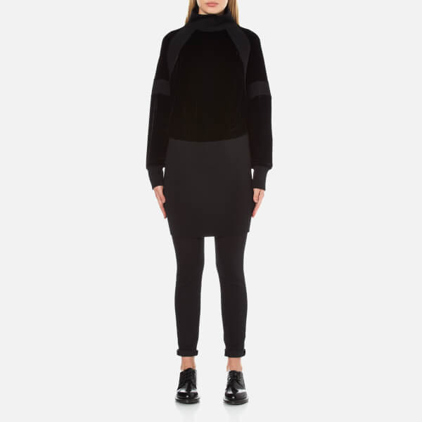 DKNY Women's Long Sleeve Sweater Mix Turtleneck Dress - Black