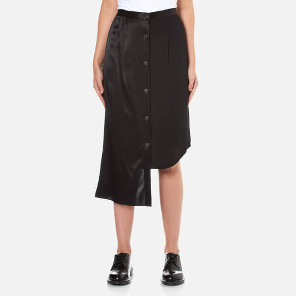 DKNY Women's Button Through Pencil Skirt with Asymmetric Hem - Black