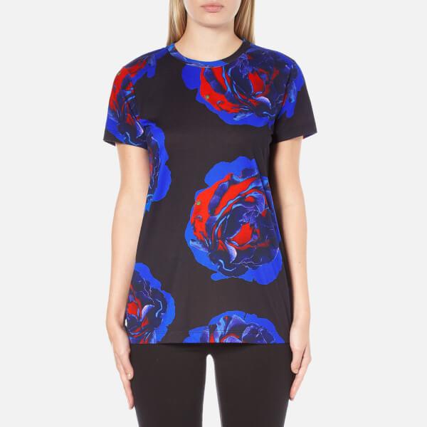 DKNY Women's Short Sleeve Comic Rose Print T-Shirt - Black