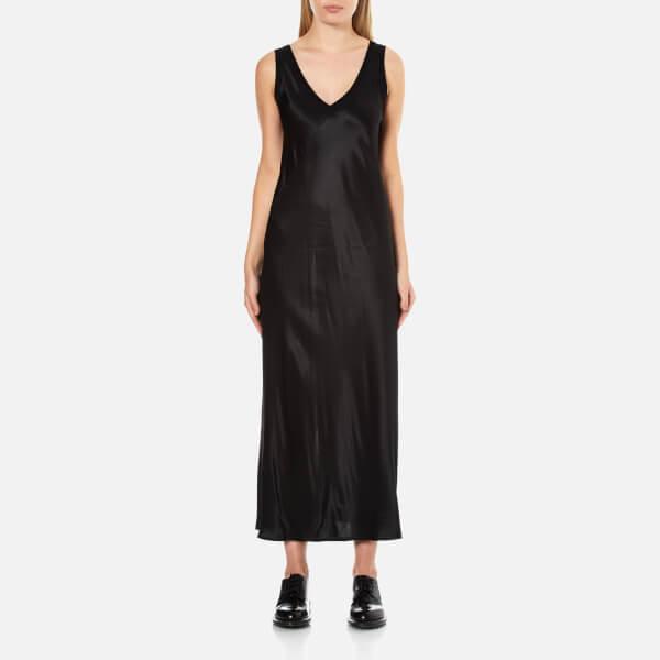DKNY Women's Sleeveless V-Neck Slip Dress with Ribbed Trims and Back Slit - Black