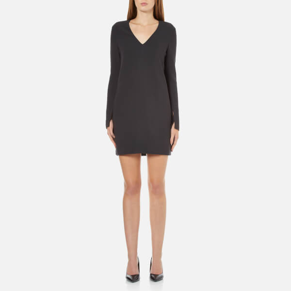 Helmut Lang Women's Long Sleeve V Neck Dress - Charcoal