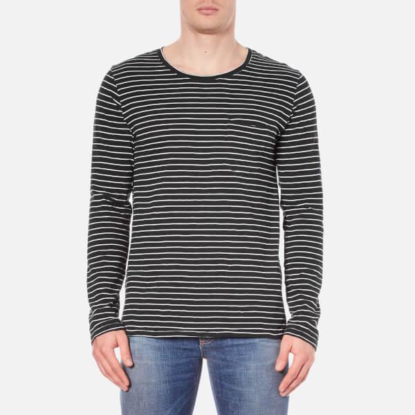 Nudie Jeans Men's Orvar Pocket Long Sleeve T-Shirt - Black/White
