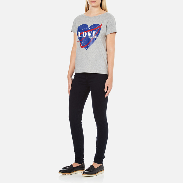 love moschino women 39 s love heart t shirt medium grey. Black Bedroom Furniture Sets. Home Design Ideas