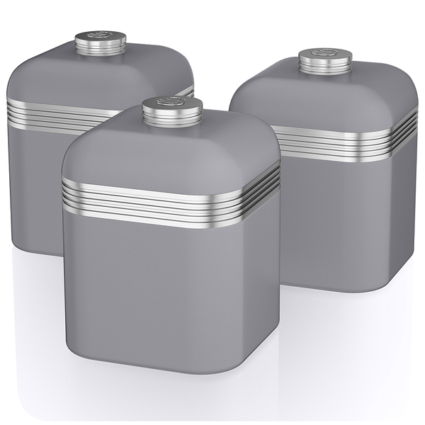 Swan Retro Canisters - Grey (Set of 3) | IWOOT