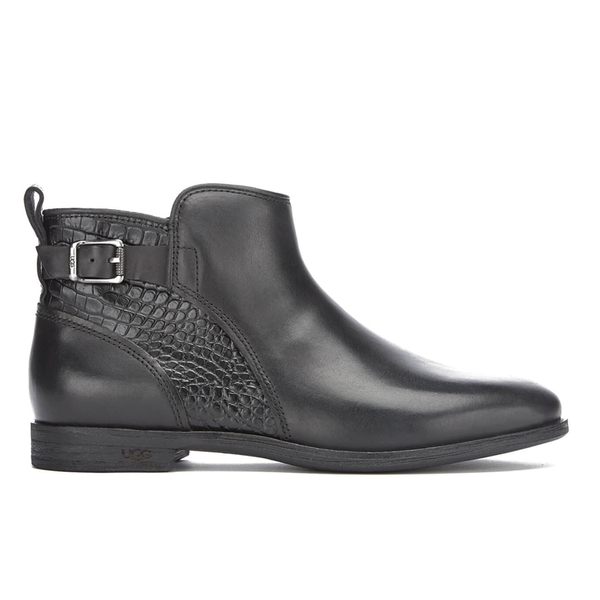 UGG Women's Demi Croc Leather Flat Ankle Boots - Black - Free UK ...