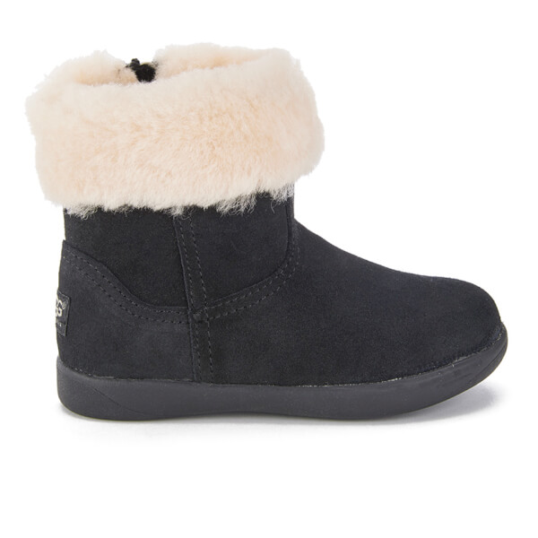 UGG Toddlers' Jorie II Sheepskin Collar Suede Boots - Black