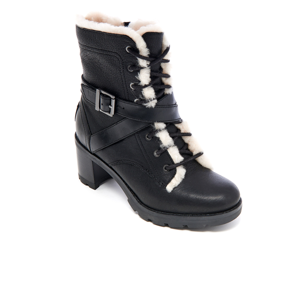 UGG Women's Ingrid Leather Sheepskin Lace Up Heeled Boots - Black: Image 2