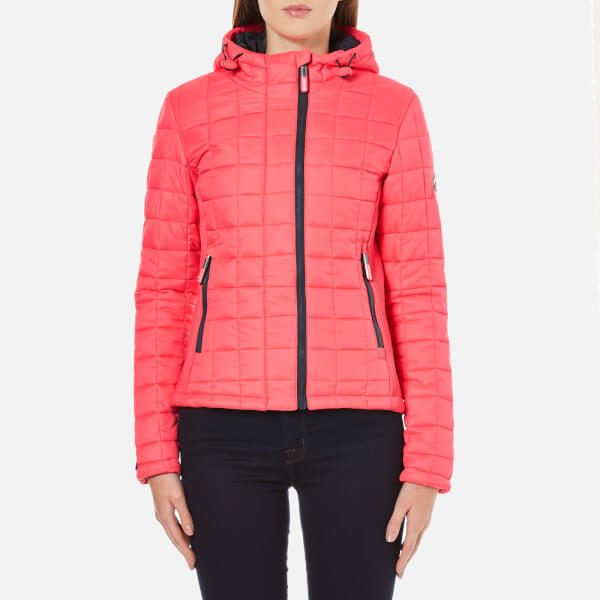 Superdry Women S Hooded Box Quilt Fuji Jacket Flash Pink