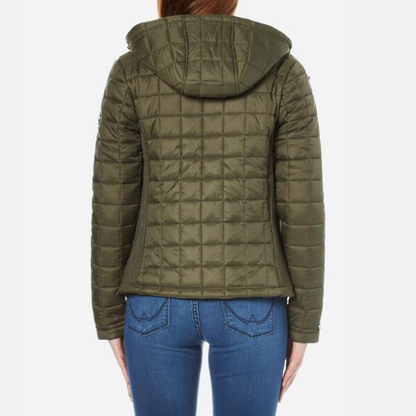 Superdry Women S Hooded Box Quilt Fuji Jacket Khaki