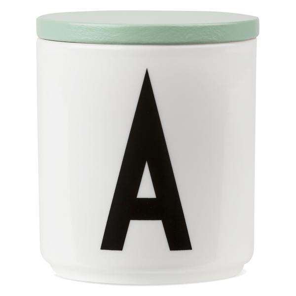 Design Letters Wooden Lid For Porcelain Cup - Green