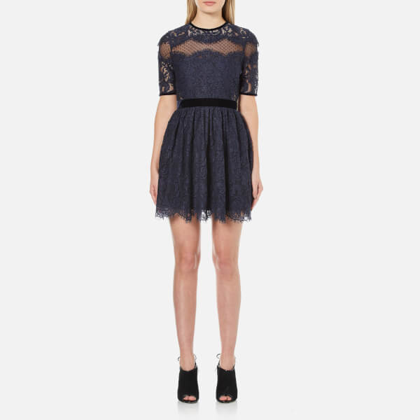 Perseverance Women's Lace Cut Out Mini Dress with Velvet Ribbon Details - Navy