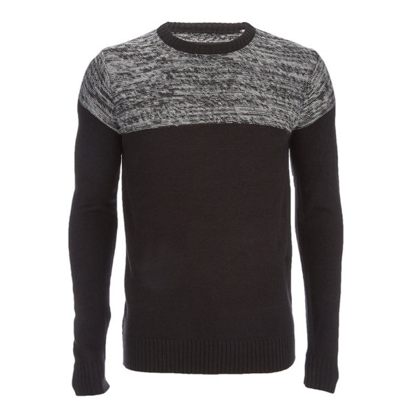 Brave Soul Men's Roland Marl Panel Jumper - Black